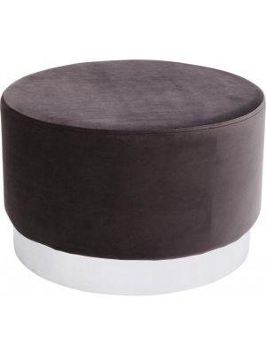 Kare Design Poef Cherry - Ø55x35 - Donkergrijs Fluweel - Zilver