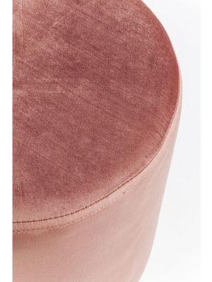 Kare Design Poef Cherry - Ø35x42 - Roze Fluweel - Messing