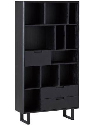 24Designs Rafael Boekenkast - B100 x D35 x H195 cm - Acaciahout - Metaal Zwart