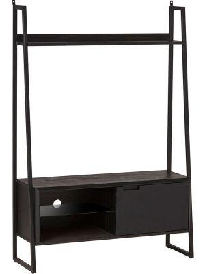 24Designs Rafael TV-kast - B125 x D40 x H180 cm - Acaciahout - Metaal Zwart