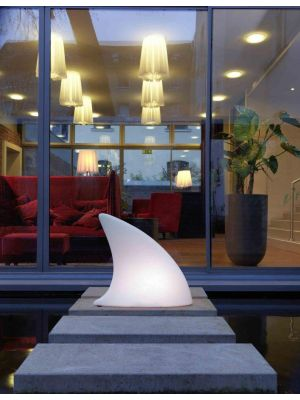 Moree Shark Outdoor Vloerlamp - L70 x B19,5 x H65 cm - Wit