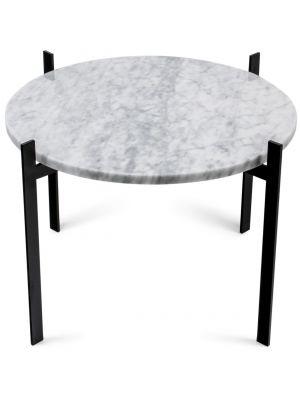 OxDenmarq Bijzettafel Single Deck - Ø57 x H38 cm - Zwart - Wit Marmer