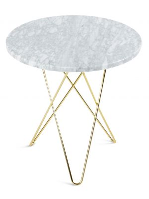 OxDenmarq Tafel Dining O Rond - Diameter 80 x H72 cm - Tafelblad Marmer Wit - Messing