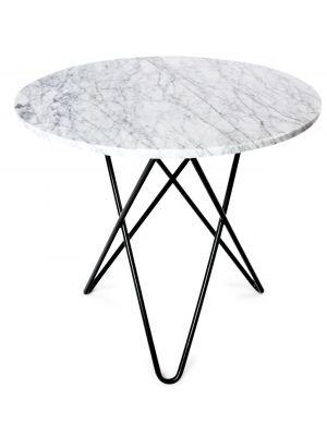 OxDenmarq Tafel Dining O Rond - Diameter 80 x H72 cm - Tafelblad Wit Marmer - Zwart Metaal