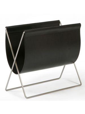 OxDenmarq Tijdschriftenrek Maggiz - Hoogte 42 cm - Leer - Zwart