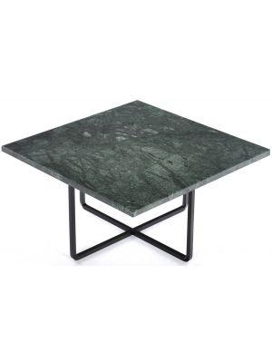 OxDenmarq Salontafel Ninety - L60 x B60 x H30 - Zwart Onderstel - Groen Marmer