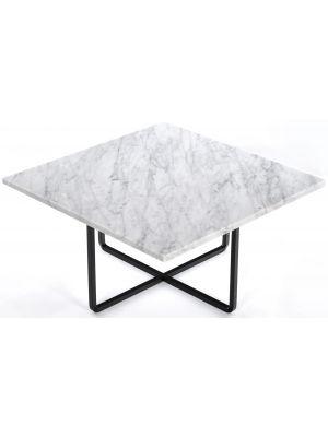 OxDenmarq Salontafel Ninety - L60 x B60 x H30 - Zwart Onderstel - Wit Marmer