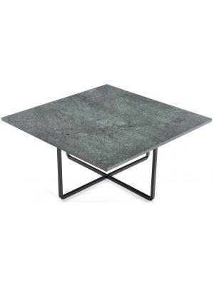 OxDenmarq Salontafel Ninety - L80 x B80 x H37 - Zwart Onderstel - Groen Marmer