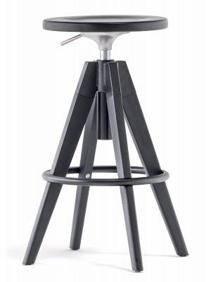 Pedrali Verstelbare Barkruk Arki - Zwarte Zitting - Zwarte Eiken Poten - Zwart Metaal