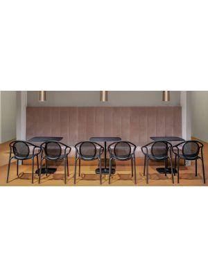 Pedrali Remind 3735 Tuinstoel & Terrasstoel - Set van 4 - Zwart Kunststof
