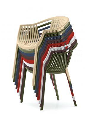 Pedrali Tatami 306 Stoel - Armleuning - Stapelbaar - Set van 4 - Mixbundel