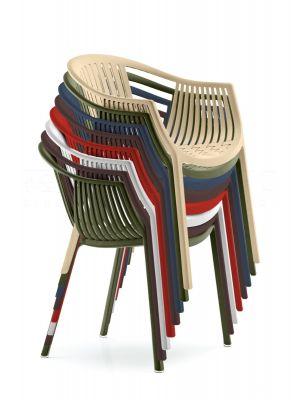 Pedrali Tatami 306 Stoel - Armleuning - Stapelbaar - Set van 6 - Mixbundel