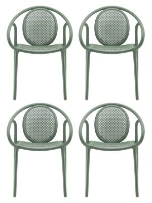 Pedrali Remind 3735 Tuinstoel & Terrasstoel - Set van 4 - Groen Kunststof