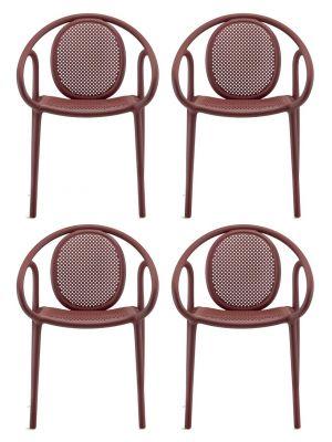 Pedrali Remind 3735 Tuinstoel & Terrasstoel - Set van 4 - Rood Kunststof