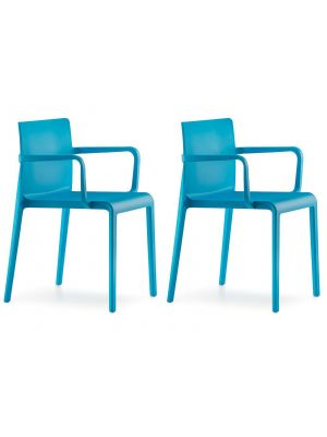 Pedrali Stapelbare Volt 675 Stoel Set van 2 - Armleuningen - Blauw