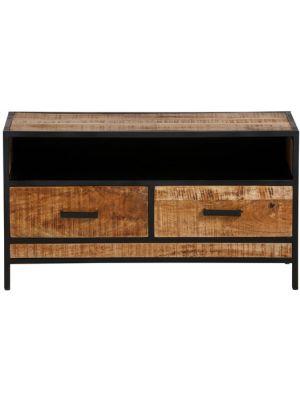 24Designs Tropical TV-meubel - B100 x D42 x H55 cm - Mangohout - Zwart Metaal