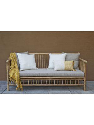 Exotan Bamboo 2-zits Loungebank Outdoor - Bamboe - Taupe Spunpoly Kussens