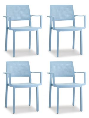 SCAB Emi Stapelbare Stoel Armleuningen - Set van 4 - Lichtblauw