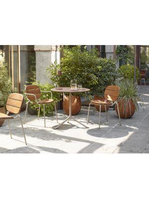 SCAB SI-SI Tuin & Terrasstoel Armleuning - Set van 2 - Mahonie Hout - Duifgrijs