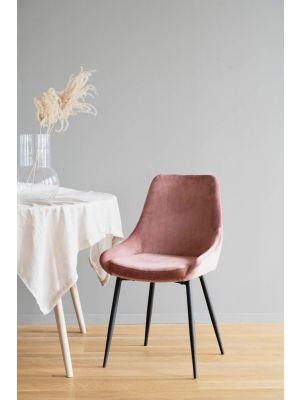 Rowico Sierra Velvet Eetkamerstoel - Set van 2 - Roze Fluweel