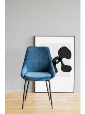Rowico Sierra Velvet Eetkamerstoel - Set van 2 - Donkerblauw Fluweel