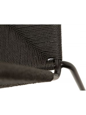 Dan-Form Stiletto Eetkamerstoel – Set van 2 – Zwart Papieren Koord – Metalen Poten