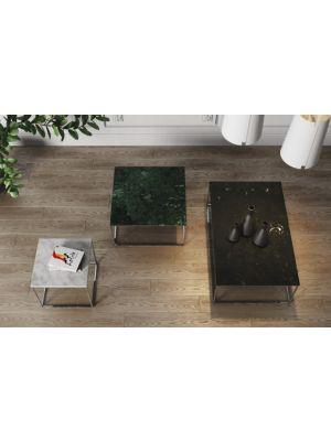 TemaHome Salontafel Gleam L120 x B75 x H40 cm - Zwart Marmer - Chromen Onderstel