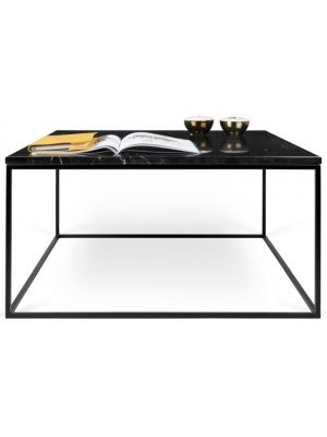 TemaHome Salontafel Gleam L75 x B75 x H40 cm - Zwart Marmer - Zwart Metalen Onderstel