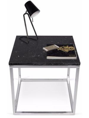 TemaHome Prairie Bijzettafel - L50 x B50 x H50 cm - Zwart Marmer Tafelblad - Chromen Frame