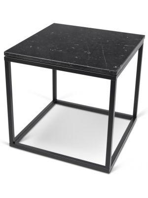 TemaHome Prairie Bijzettafel - L50 x B50 x H50 cm - Zwart Marmer Tafelblad - Zwart Frame