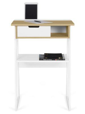 TemaHome Space Hoge Laptoptafel - 70x50x101 - Mat Wit - Eiken
