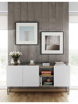 TemaHome Nina Dressoir - B180 x D42 x H83 cm - Wit met Eiken - Metalen Poten