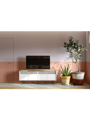 TemaHome Radio TV-Meubel - B160 x D43 x H60 cm - Eiken - Wit