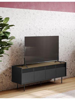 TemaHome Radio TV-Meubel - B160 x D43 x H60 cm - Walnoot - Zwart