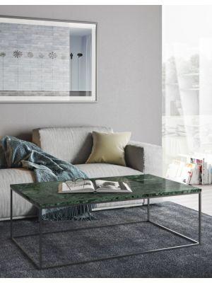 TemaHome Salontafel Gleam L120 x B75 x H40 cm - Groen Marmer - Chromen Onderstel
