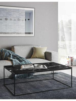 TemaHome Salontafel Gleam L120 x B75 x H40 cm - Zwart Marmer - Zwart Metalen Onderstel