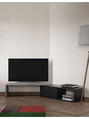 TemaHome Uitschuifbaar TV Meubel Move - 110/203x35x32 - Zwart - Beton Look