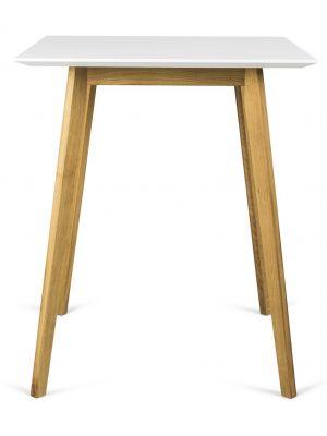 Tenzo Bess Bartafel - L80 x B80 x H95 cm - Wit Tafelblad - Eiken Houten Poten