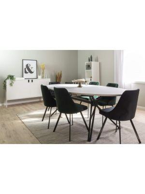 Tenzo Cibuz Ovale Tafel L240 x B120 x H75 - Wit HPL Tafelblad - Zwart Metalen Onderstel