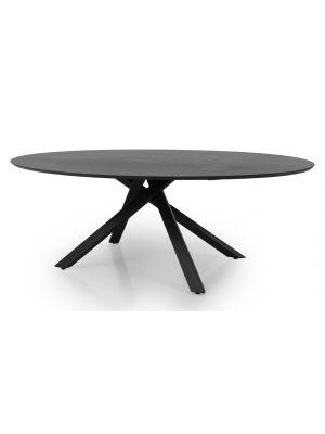 Tenzo Cox Ovale Tafel L240 x B120 x H75 - Zwart Tafelblad Essenhout - Metalen Onderstel
