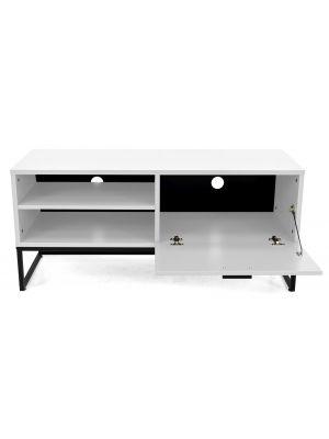 Tenzo Mello Tv-Meubel 1-Klepdeur - B118 x D43 x H54 cm - Wit - Zwart Metalen Onderstel