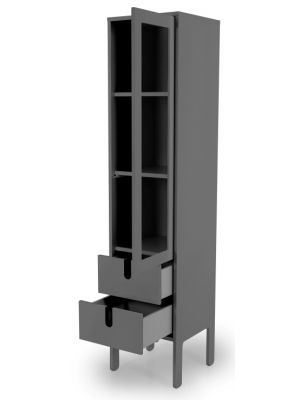 Tenzo UNO Vitrinekast - 1-Deur/2-laden - 40x40x178 - Grijs