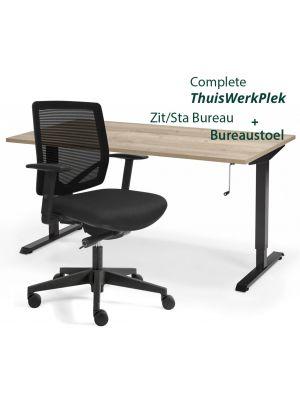 Complete ThuisWerkplek Aken - Verstelbaar Zit Sta bureau Flex + Bureaustoel Aken
