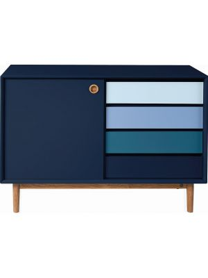TOM TAILOR by Tenzo Color Box Dressoir 1-Deur/4-Laden - B114xD44xH80 cm - Blauw