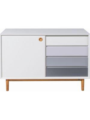 TOM TAILOR by Tenzo Color Box Dressoir 1-Deur/4-Laden - B114xD44xH80 cm - Wit/Grijs