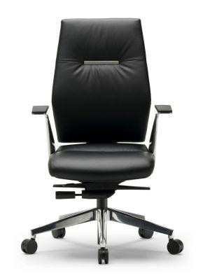 24Designs Dublin Bureaustoel - Zwart Leer - Gepolijst Aluminium Onderstel