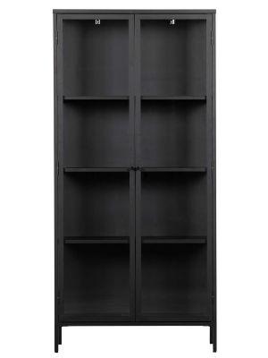vtwonen Precious Vitrinekast - B90 x D43 x H190 cm - Zwart Metaal Met Glas