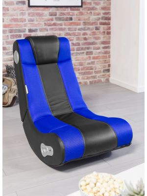 24Designs Max - Racestoel Gamestoel - Bluetooth & Speakers - Zwart / Blauw