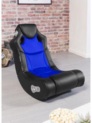 24Designs Racer - Racestoel Gamestoel - Bluetooth & Speakers - Zwart / Blauw
