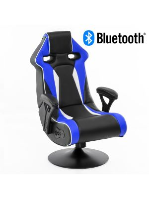 24Designs Silverstone - Racestoel Gamestoel Rocker - Bluetooth & Speakers - Zwart / Blauw